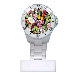 Beautiful,floral,hand painted, flowers,black,background,modern,trendy,girly,retro Plastic Nurses Watch