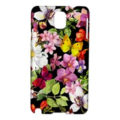 Beautiful,floral,hand painted, flowers,black,background,modern,trendy,girly,retro Samsung Galaxy Note 3 N9005 Hardshell Case