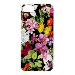 Beautiful,floral,hand painted, flowers,black,background,modern,trendy,girly,retro Apple iPhone 5S/ SE Hardshell Case