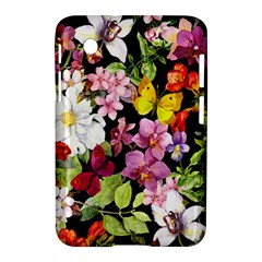 Beautiful,floral,hand painted, flowers,black,background,modern,trendy,girly,retro Samsung Galaxy Tab 2 (7 ) P3100 Hardshell Case