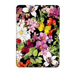 Beautiful,floral,hand painted, flowers,black,background,modern,trendy,girly,retro Samsung Galaxy Tab 2 (10.1 ) P5100 Hardshell Case