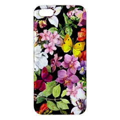 Beautiful,floral,hand painted, flowers,black,background,modern,trendy,girly,retro iPhone 5S/ SE Premium Hardshell Case