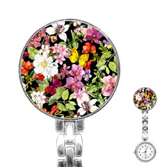 Beautiful,floral,hand painted, flowers,black,background,modern,trendy,girly,retro Stainless Steel Nurses Watch