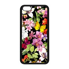 Beautiful,floral,hand painted, flowers,black,background,modern,trendy,girly,retro Apple iPhone 5C Seamless Case (Black)