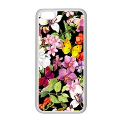 Beautiful,floral,hand painted, flowers,black,background,modern,trendy,girly,retro Apple iPhone 5C Seamless Case (White)