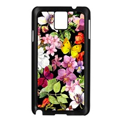 Beautiful,floral,hand painted, flowers,black,background,modern,trendy,girly,retro Samsung Galaxy Note 3 N9005 Case (Black)