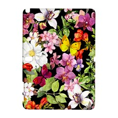 Beautiful,floral,hand painted, flowers,black,background,modern,trendy,girly,retro Galaxy Note 1