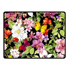 Beautiful,floral,hand painted, flowers,black,background,modern,trendy,girly,retro Double Sided Fleece Blanket (Small)