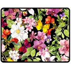 Beautiful,floral,hand painted, flowers,black,background,modern,trendy,girly,retro Double Sided Fleece Blanket (Medium)