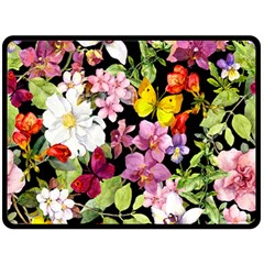 Beautiful,floral,hand painted, flowers,black,background,modern,trendy,girly,retro Double Sided Fleece Blanket (Large)