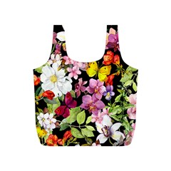 Beautiful,floral,hand painted, flowers,black,background,modern,trendy,girly,retro Full Print Recycle Bags (S)