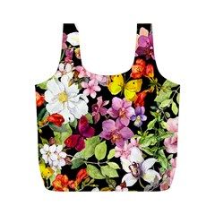 Beautiful,floral,hand Painted, Flowers,black,background,modern,trendy,girly,retro Full Print Recycle Bags (m)  by 8fugoso