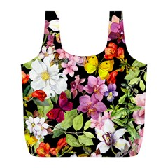 Beautiful,floral,hand painted, flowers,black,background,modern,trendy,girly,retro Full Print Recycle Bags (L)