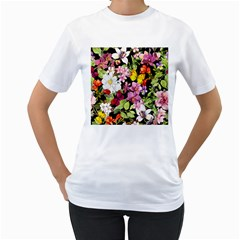 Beautiful,floral,hand painted, flowers,black,background,modern,trendy,girly,retro Women s T-Shirt (White)