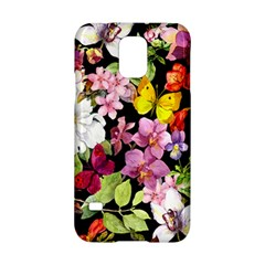 Beautiful,floral,hand painted, flowers,black,background,modern,trendy,girly,retro Samsung Galaxy S5 Hardshell Case