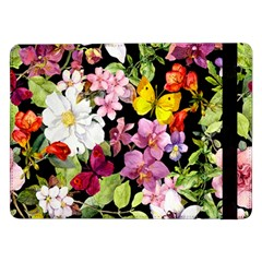 Beautiful,floral,hand painted, flowers,black,background,modern,trendy,girly,retro Samsung Galaxy Tab Pro 12.2  Flip Case
