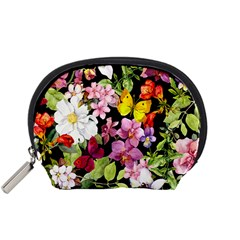 Beautiful,floral,hand painted, flowers,black,background,modern,trendy,girly,retro Accessory Pouches (Small)