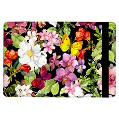 Beautiful,floral,hand painted, flowers,black,background,modern,trendy,girly,retro iPad Air Flip