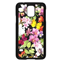Beautiful,floral,hand painted, flowers,black,background,modern,trendy,girly,retro Samsung Galaxy S5 Case (Black)