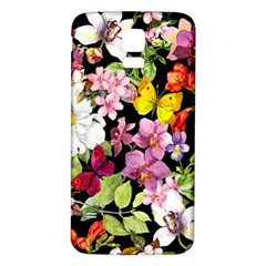 Beautiful,floral,hand painted, flowers,black,background,modern,trendy,girly,retro Samsung Galaxy S5 Back Case (White)