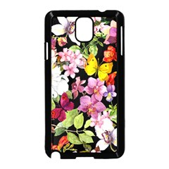 Beautiful,floral,hand painted, flowers,black,background,modern,trendy,girly,retro Samsung Galaxy Note 3 Neo Hardshell Case (Black)