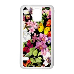 Beautiful,floral,hand painted, flowers,black,background,modern,trendy,girly,retro Samsung Galaxy S5 Case (White)