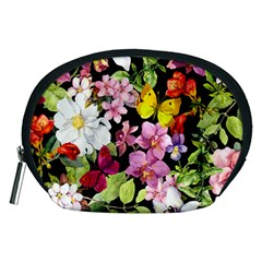Beautiful,floral,hand painted, flowers,black,background,modern,trendy,girly,retro Accessory Pouches (Medium)