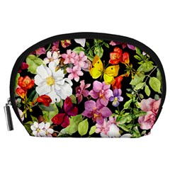 Beautiful,floral,hand painted, flowers,black,background,modern,trendy,girly,retro Accessory Pouches (Large)