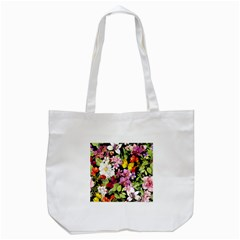 Beautiful,floral,hand painted, flowers,black,background,modern,trendy,girly,retro Tote Bag (White)