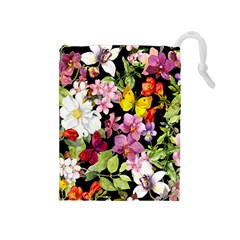Beautiful,floral,hand painted, flowers,black,background,modern,trendy,girly,retro Drawstring Pouches (Medium)