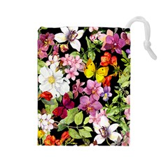 Beautiful,floral,hand painted, flowers,black,background,modern,trendy,girly,retro Drawstring Pouches (Large)