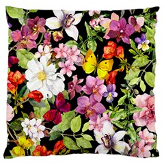 Beautiful,floral,hand painted, flowers,black,background,modern,trendy,girly,retro Large Flano Cushion Case (One Side)