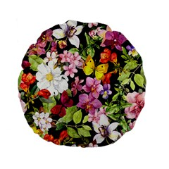 Beautiful,floral,hand painted, flowers,black,background,modern,trendy,girly,retro Standard 15  Premium Flano Round Cushions