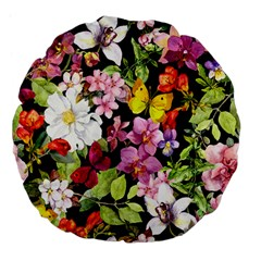 Beautiful,floral,hand painted, flowers,black,background,modern,trendy,girly,retro Large 18  Premium Flano Round Cushions