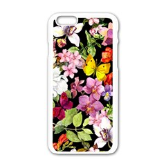Beautiful,floral,hand painted, flowers,black,background,modern,trendy,girly,retro Apple iPhone 6/6S White Enamel Case
