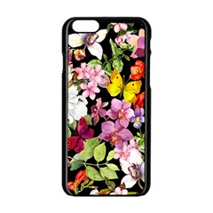 Beautiful,floral,hand painted, flowers,black,background,modern,trendy,girly,retro Apple iPhone 6/6S Black Enamel Case