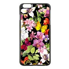 Beautiful,floral,hand painted, flowers,black,background,modern,trendy,girly,retro Apple iPhone 6 Plus/6S Plus Black Enamel Case