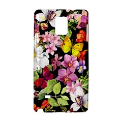 Beautiful,floral,hand painted, flowers,black,background,modern,trendy,girly,retro Samsung Galaxy Note 4 Hardshell Case
