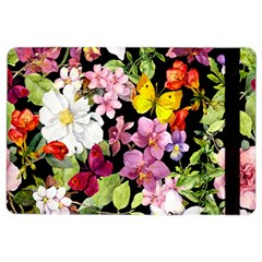 Beautiful,floral,hand painted, flowers,black,background,modern,trendy,girly,retro iPad Air 2 Flip