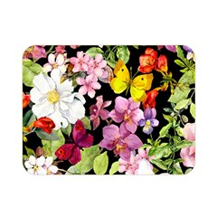 Beautiful,floral,hand painted, flowers,black,background,modern,trendy,girly,retro Double Sided Flano Blanket (Mini)