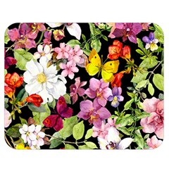 Beautiful,floral,hand painted, flowers,black,background,modern,trendy,girly,retro Double Sided Flano Blanket (Medium)