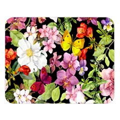 Beautiful,floral,hand painted, flowers,black,background,modern,trendy,girly,retro Double Sided Flano Blanket (Large)