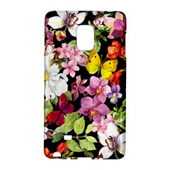 Beautiful,floral,hand painted, flowers,black,background,modern,trendy,girly,retro Galaxy Note Edge