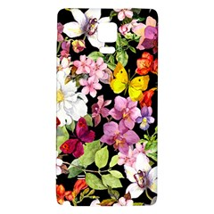 Beautiful,floral,hand painted, flowers,black,background,modern,trendy,girly,retro Galaxy Note 4 Back Case
