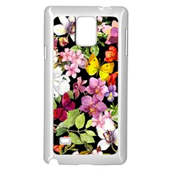 Beautiful,floral,hand painted, flowers,black,background,modern,trendy,girly,retro Samsung Galaxy Note 4 Case (White)