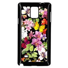 Beautiful,floral,hand painted, flowers,black,background,modern,trendy,girly,retro Samsung Galaxy Note 4 Case (Black)