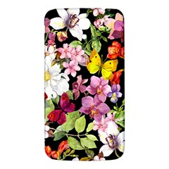 Beautiful,floral,hand painted, flowers,black,background,modern,trendy,girly,retro Samsung Galaxy Mega I9200 Hardshell Back Case