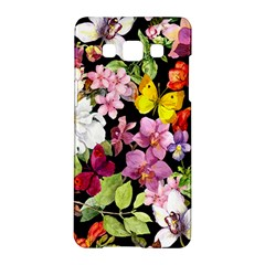 Beautiful,floral,hand painted, flowers,black,background,modern,trendy,girly,retro Samsung Galaxy A5 Hardshell Case