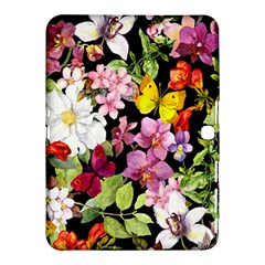 Beautiful,floral,hand painted, flowers,black,background,modern,trendy,girly,retro Samsung Galaxy Tab 4 (10.1 ) Hardshell Case