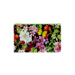 Beautiful,floral,hand painted, flowers,black,background,modern,trendy,girly,retro Cosmetic Bag (XS)